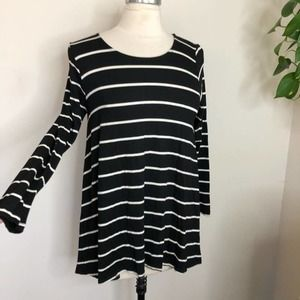 Anthropologie jersey knit striped tunic top small